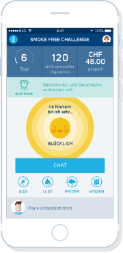 Screenshot aus der SmokeFree Buddy App