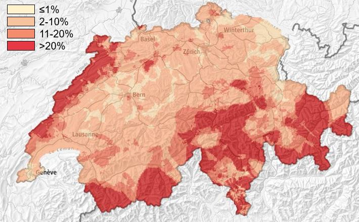 Radon map of Switzerland